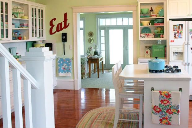 fresh white kitchen with pops of happy color and eclectic vintage flair!