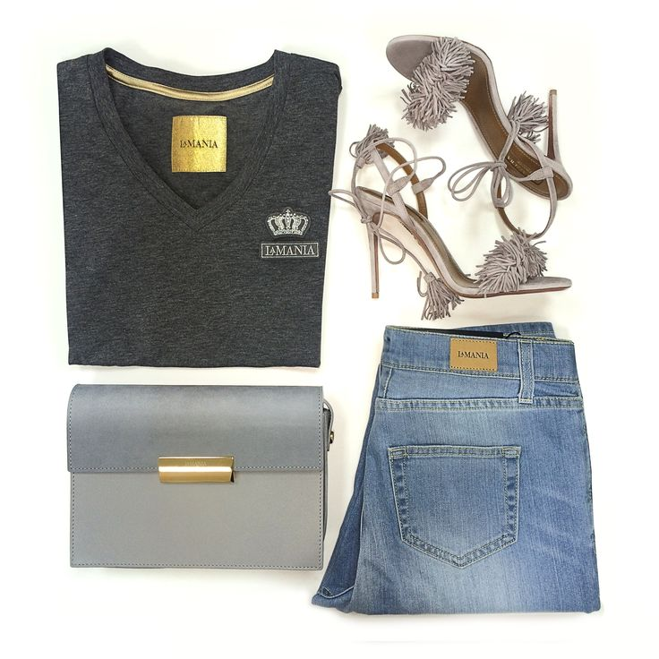 Joanna's favourite casual look: AUDREY denim, LIVIA bag, TARA tshirt, AQUAZZURA pumps #LaMania #Aquazzura