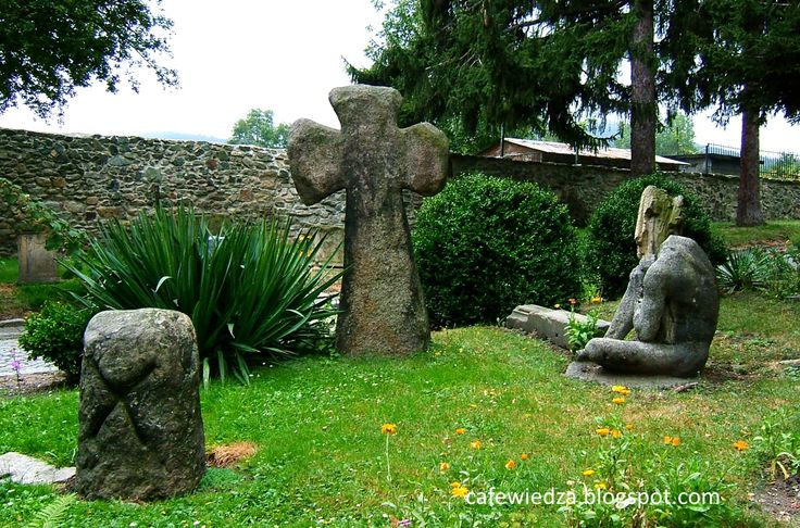 Prehistoric sculptures in the garden next to the Museum Ślęza in Sobótka, Poland