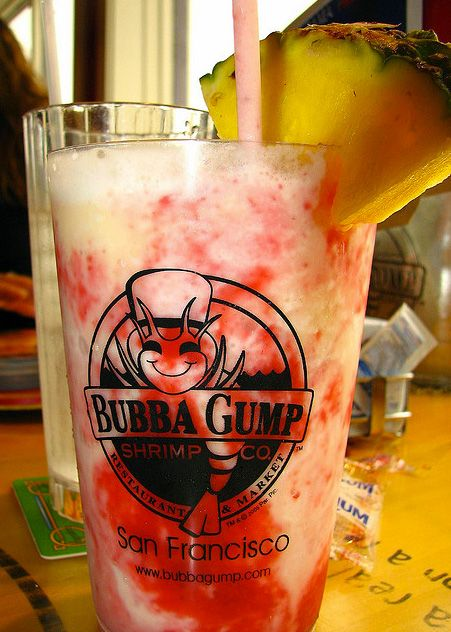 Lava Flow by Bubba Gump Shrimp Company - Lava Flow Recipe: 1 oz light rum - 1 oz Malibu® coconut rum - 2 oz strawberries - 1 banana - 2 oz pineapple juice - 2 oz coconut cream