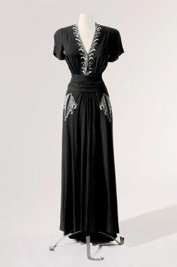 Dress from Joan Crawford, personal wardrobe, Designer: Elsa Schiaparelli from Gene London fashion exhibit at Reading Museum.