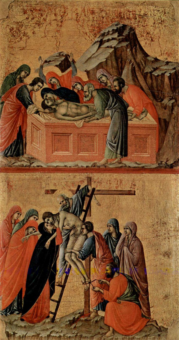 Маэста, алтарь сиенского кафедрального собора, оборотная сторона, Регистр со сценами Страстей Христовых: Положение во гроб и Сня