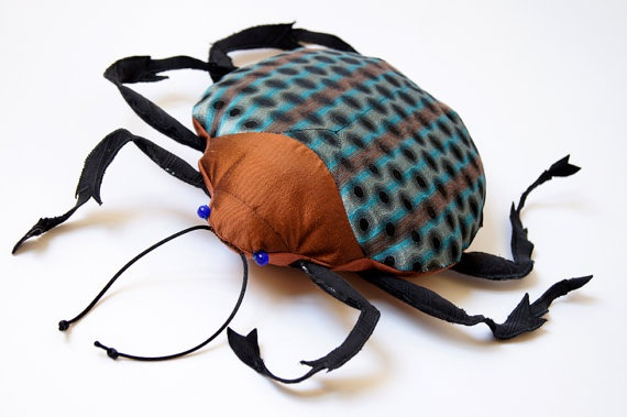 Fabric Jewel Beetle Soft Sculpture / Coleoptera by BlueTerracotta on Etsy, really cool stuff including spiders, cicadas