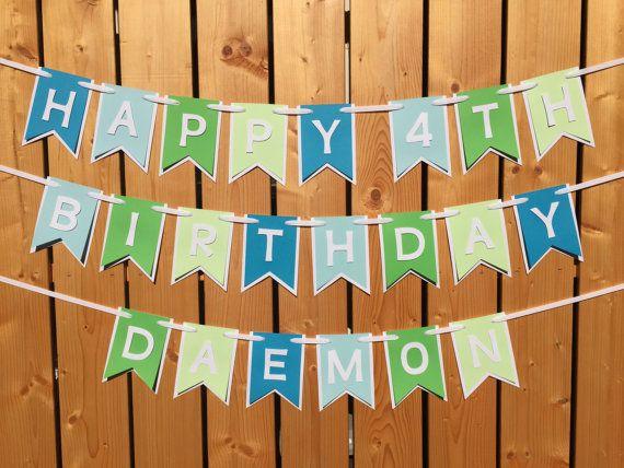Custom blue and green happy birthday banner Birthday by JaeMakes