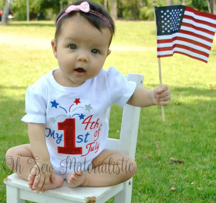 Personalized girl's or boy's patriotic forth of July applique shirt or bodysuit. 1st fourth of July. by SewMaterialisticLLC on Etsy