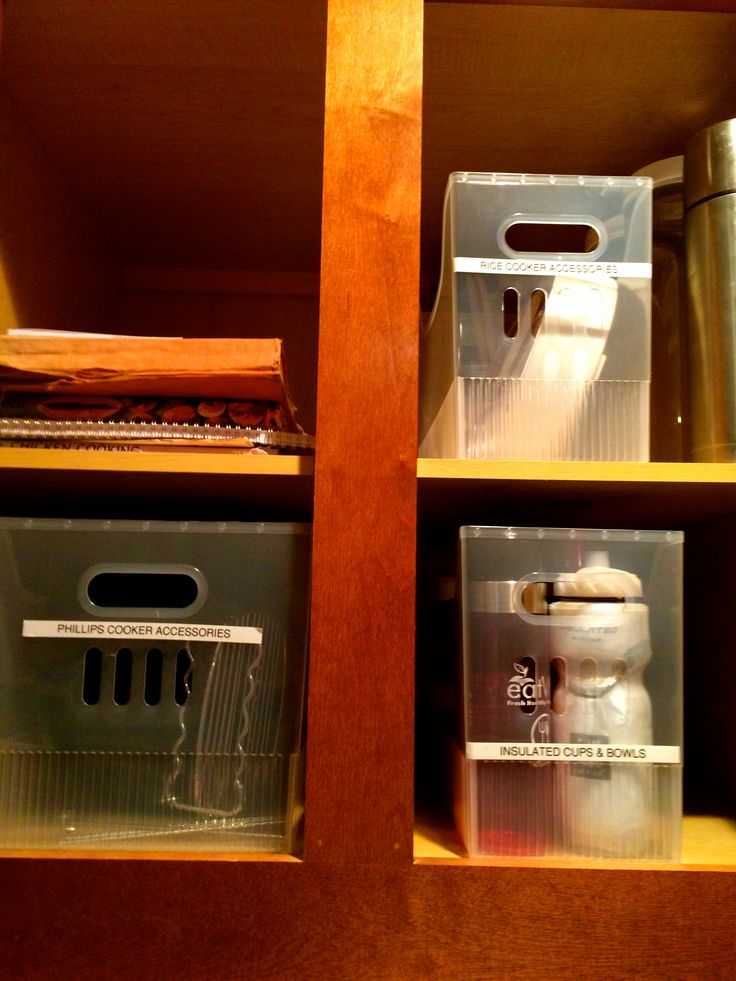 Use bins from Container Store to organize hard to reach items. #truorder