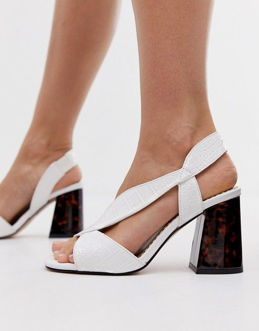 ac588a4aa1d River Island Wide Fit block sandals with crossover strap in white in ...