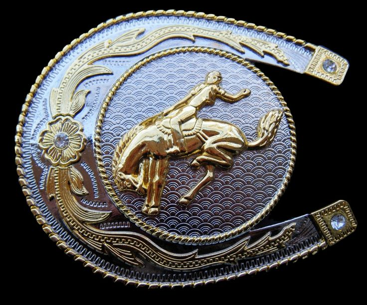 BIG LUCKY HORSESHOE HORSE RIDER RODEO WESTERN COOL BELT BUCKLE BELTS BUCKLES