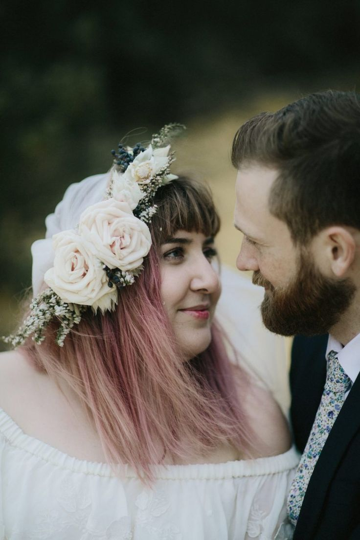 bohemian pink-haired bride with flower crown