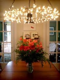 DIY string light chandelier