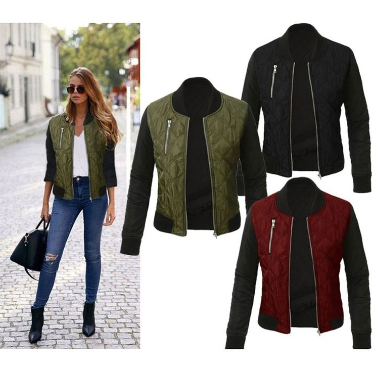 Fashion Women's Classic Padded Bomber Jacket Ladies Vintage Zip Up Biker Coat #Unbranded #BaseballJacket