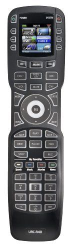 "URC R40 ""My Favorite Remote"" Advanced Universal Remote Control for up to 18 A/V Components by URC. $149.99. From the Manufacturer Experience the convenience of My Favorite Remote from URC, a pre-programmed learning remote that controls up to 18 devices, with quick and easy programming via an on-screen wizard. With a 1.5"" color OLED screen, custom URC technologies like MacroPower and SimpleSound, and support for virtually all brands of Audio, TV,..."
