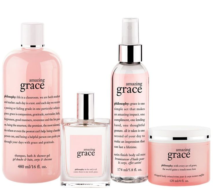 What is it: A four-piece fragrance collection including shampoo, bath, and shower gel; whipped body creme; satin-finish body oil mist; and eau de toilette spray fragrance. Choose from one of three popular scents.<br><br>amazing grace is philosophy's best-selling, classic, soft floral fragrance, created to make you feel amazingly clean and beautifully feminine.<br><br>living grace is an ethereal, clean fragrance, inspiring you to live in the present moment while feeling vibrant, alive, and…