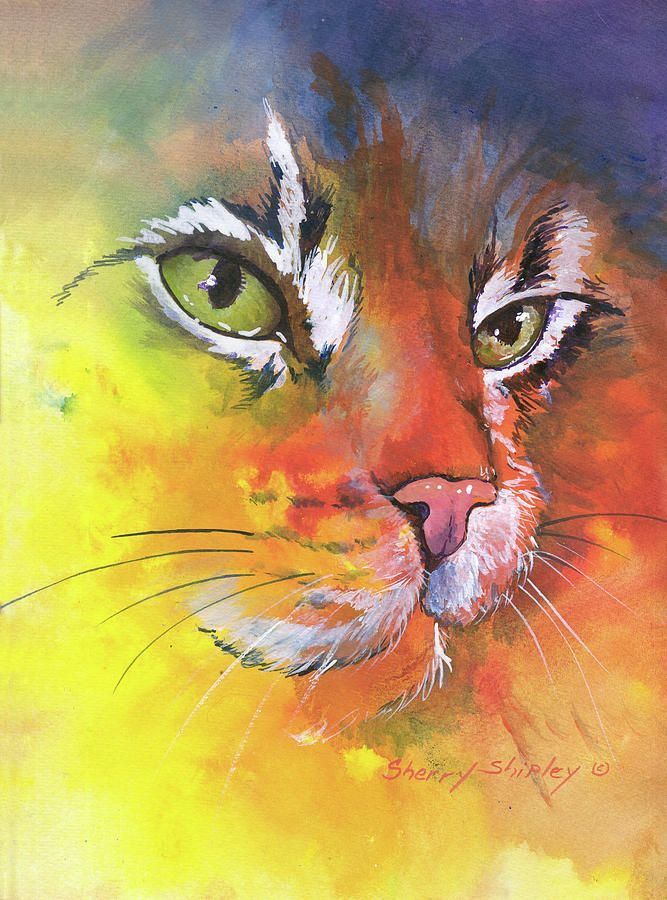 love these colors artist used-Glow Cat Painting by Sherry Shipley - Glow Cat Fine Art Prints and Posters for Sale