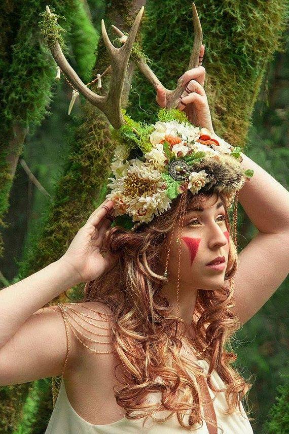 Cartilage de wapiti pur mousse coiffure mariage de concepteur Boho Bohême Ivoire Burningman chaine dorée crâne à la main fourrure Elegant Gypsy Bones dents fleurs
