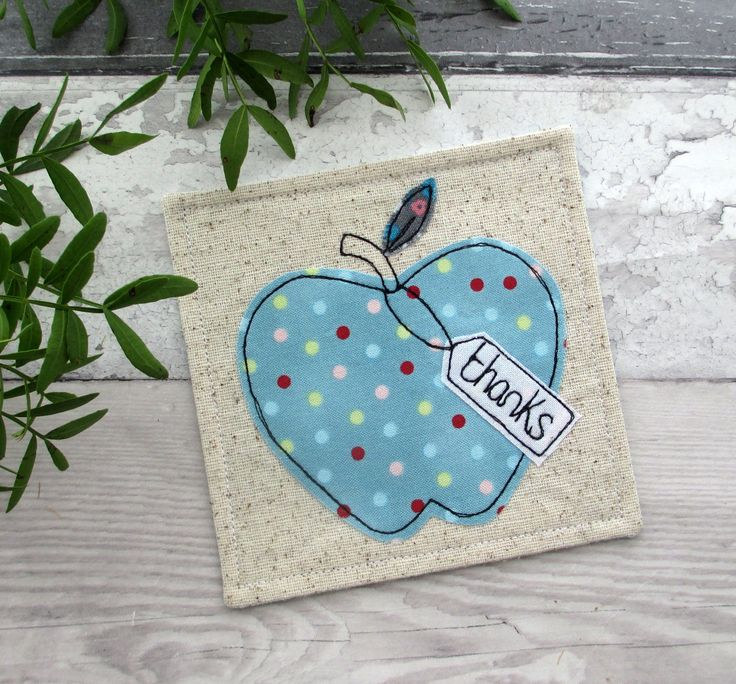 Fabric Coaster, Thank You gift, Apple Coaster, Gift For Him, Gift For Her, End Of Term Gift, Teacher Gift, Thank You Coaster, Blue Coaster by TheCornishCoasterCo on Etsy