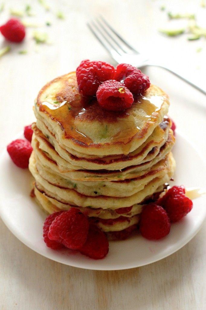 Healthy Greek Yogurt Zucchini Pancakes - this easy recipe yields the lightest, fluffiest, tastiest pancakes! We jus love them!