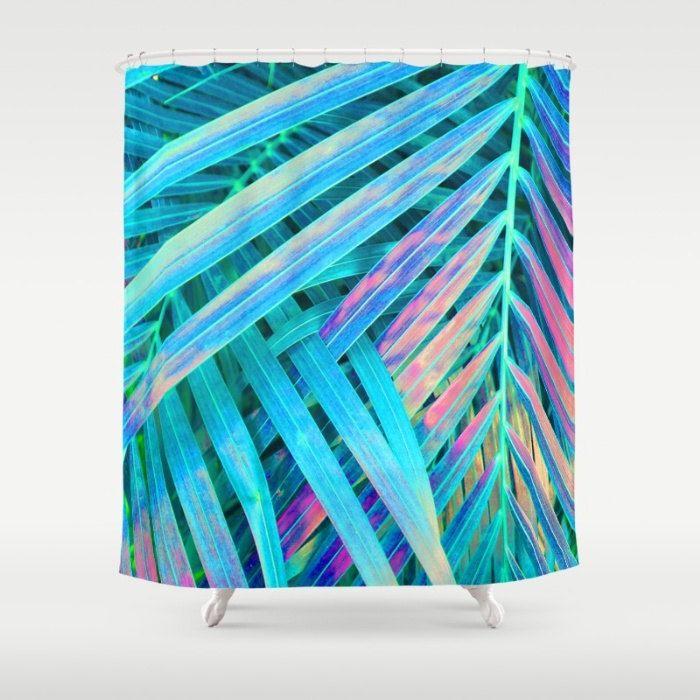 Blue Shower Curtain, Tropical Leaf Print, Palm Leaf Bath Decor, Rainbow Bathroom Accessories, Teal Shower Curtain, Tropical Bathroom Decor by OlaHolaHolaBaby on Etsy