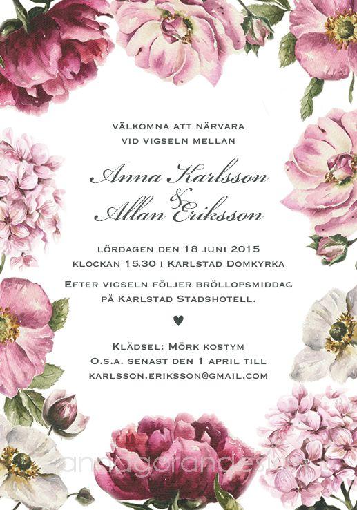 Sommarblomster - inbjudningskort till bröllop eller fest. Pappersboden Anna Göran Design