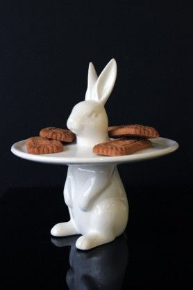 White Rabbit Cake Plate