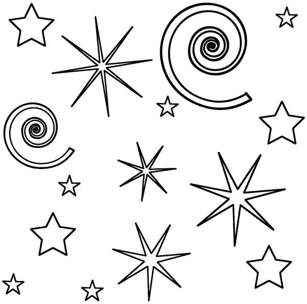 starry night with fireworks coloring page free printable