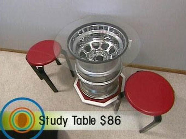 Boy's Race-Car Bedroom Theme Design : Boy's Racing Bedroom – Wheel rims Study Table...could probably make it for a lot less