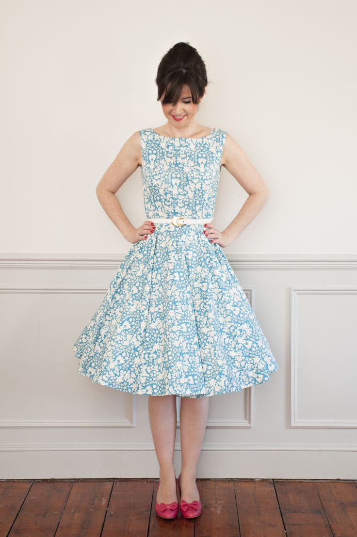 Sew Over It Betty Dress sewing pattern. Inspired by Mad Men's Betty Draper the Betty dress is 1950's in style with a fitted bodice and full circle skirt. Worn with or without a petticoat it makes the perfect party dress More