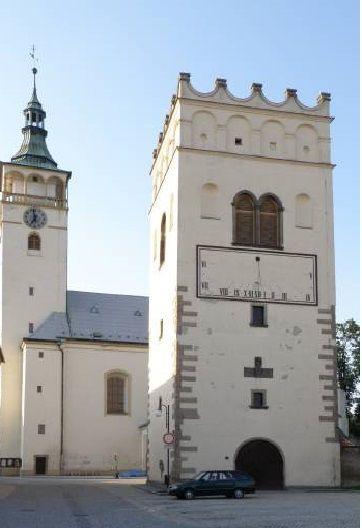 The bellfry and church of St.James in Lipník nad Bečvou (North Moravia), Czechia