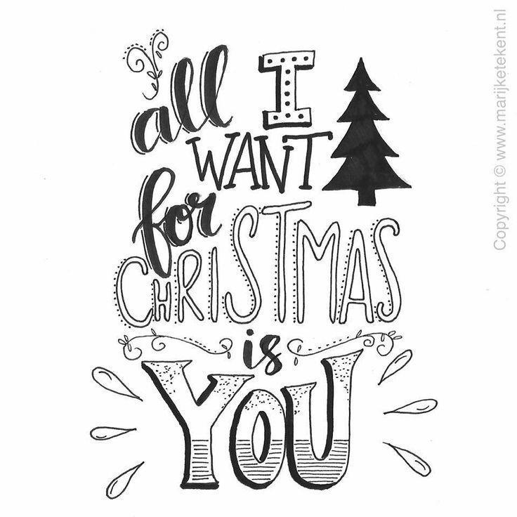 Tout Ce Que Je Veux Pour Noel C Est Toi Typographie Handlettering Lettering Weihnachten Zeichnung