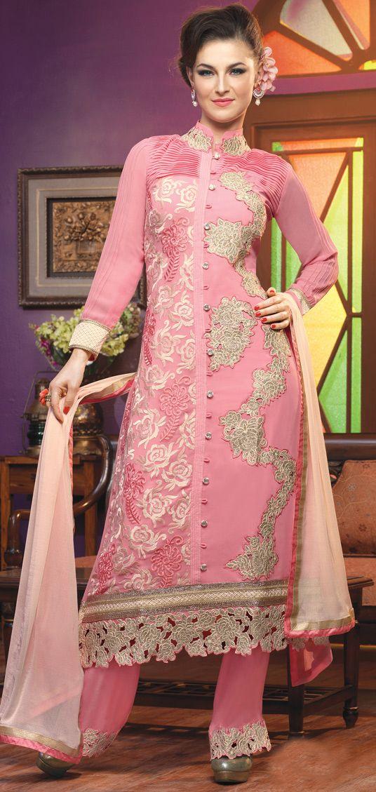 USD 54.34 Pink Georgette Palazzo Salwar Suit 44208