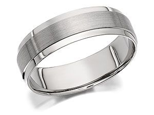 palladium matt and polished grooms wedding ring 6mm 181208 - Grooms Wedding Ring