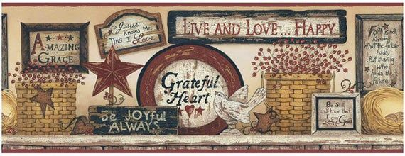 Phrases Of Faith Wallpaper Border Cb5533bd In 2021 Primitive Wallpaper Wallpaper Border Linda Spivey