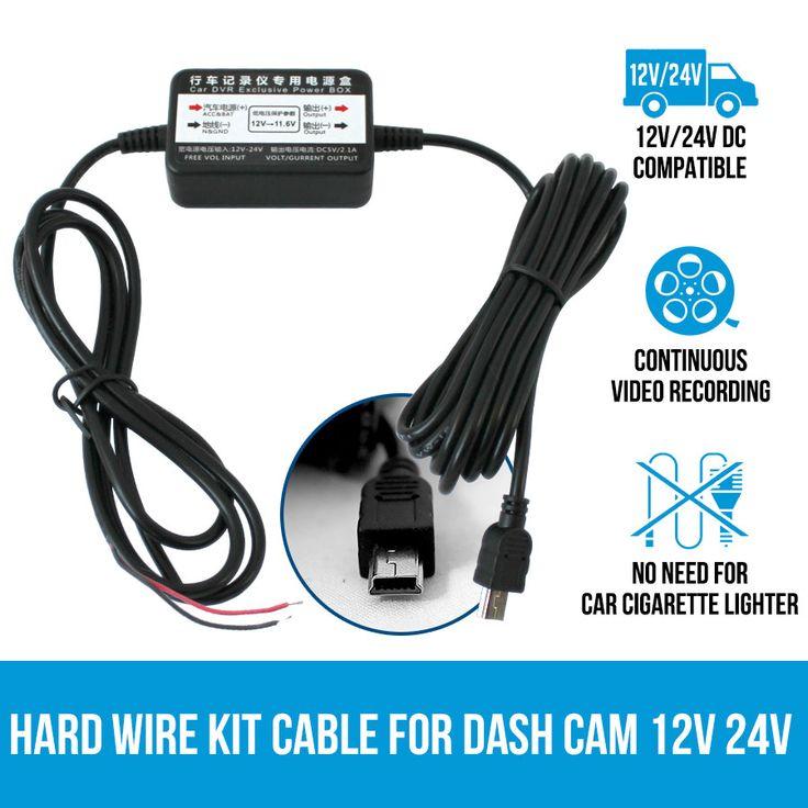 Hard Wire Kit Cable DVR Charger for Car Dash Cam Camera 12V 24V Parking Power | Elinz