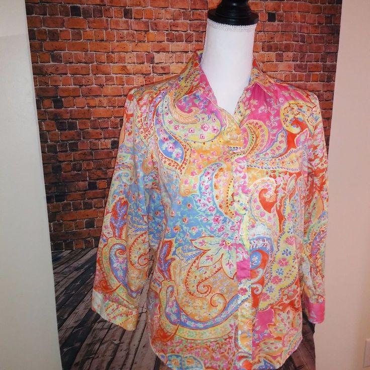 Ralph Lauren Womens Medium Muliti Colored Floral Paisley Print Button Down MINT #LaurenRalphLauren #Blouse #Career