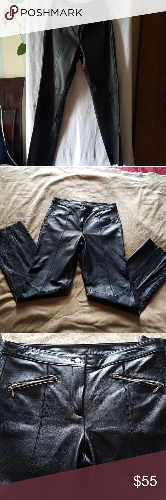 Wilson's Leather Maxima Leather Motorcycle Pants These sexy leather pants will have you out on the bike everyday.  Soft supple leather feel.  They are lined all the way down to just below the knee. Zippered pockets.  Size 8. Wilsons Leather Pants