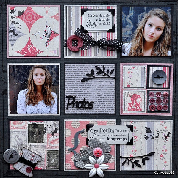 i like how all the blocks don't necessarily hold a photograph. Its a lovely scrapbook layout