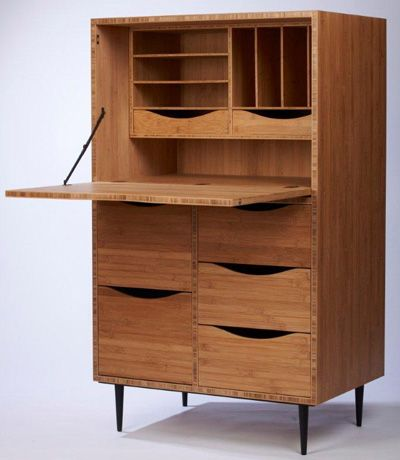 Chris Lehrecke (Dimensions are approximate) Secretary Bamboo Blackend metal base 30 x 20 x 50H