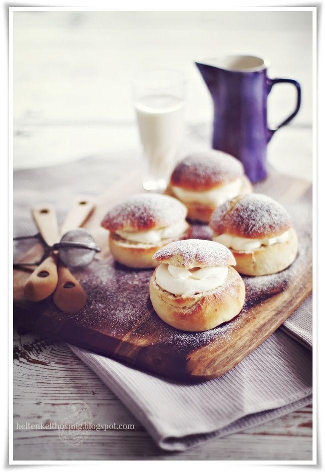 Semlor - Swedish cardamom almond cream pastries