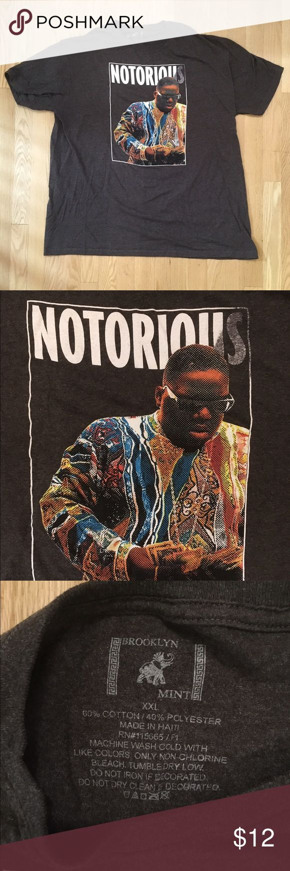 Notorious BIG Grey T Shirt XXL Biggie Smalls USED Notorius BIG Grey T-Shirt. Size men's XL. Please inspect photos for condition. 60% Cotton 40% Polyester. Fast shipper! brooklyn mint Shirts Tees - Short Sleeve