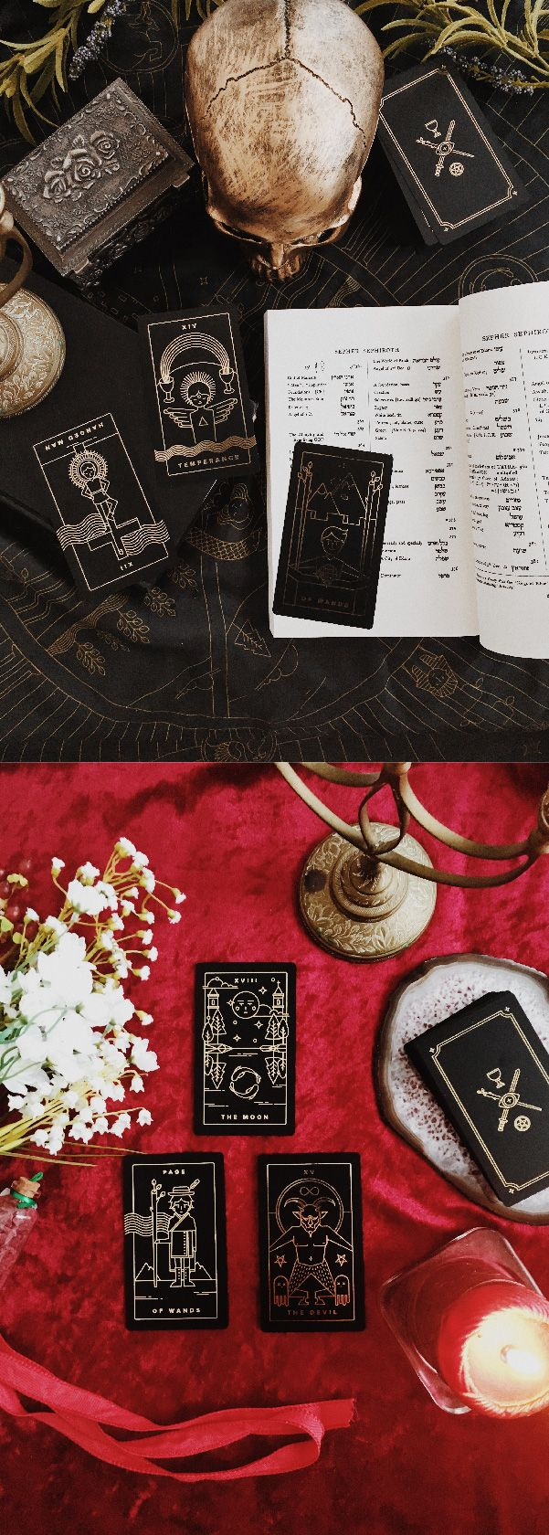 Golden Thread Tarot Deck, A Modern Minimal Tarot Card Set. For tarot beginners, and everyone interested in witchcraft, wicca, spells, mysticism, occult, magick, tarot reading, paganism, gothic, gothic art, indie tarot deck, unique tarot deck, dark tarot deck, gold foil tarot deck.