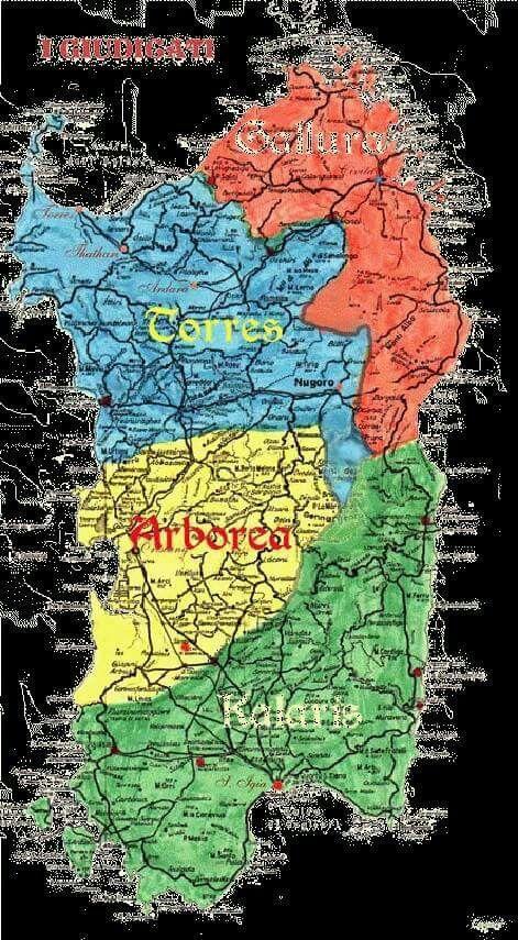 I giudicati sardi : Kalaris- Arborea-Torres-Gallura.