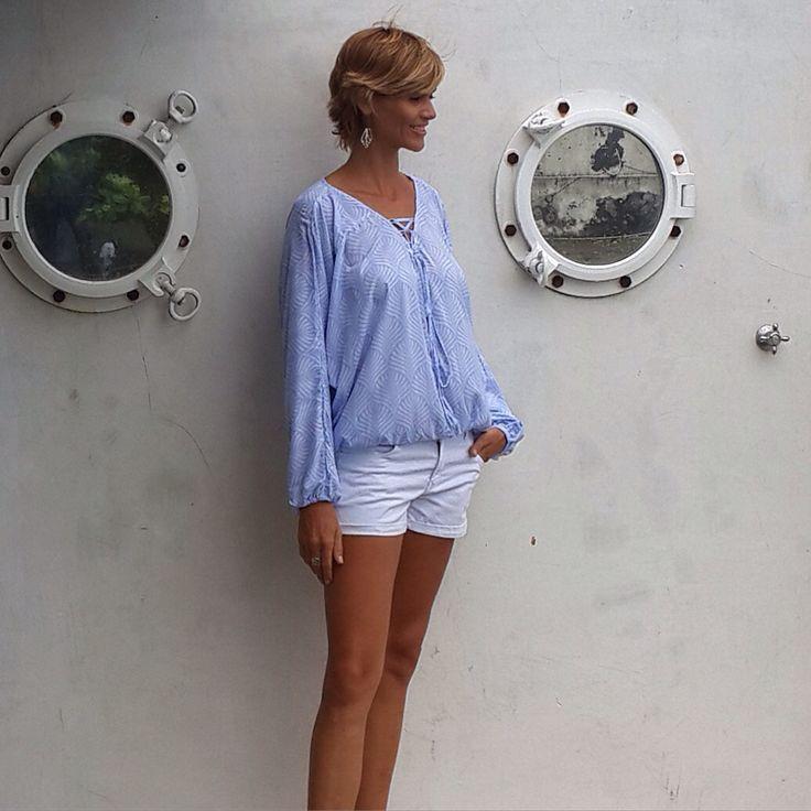 Hannah lace up shirt #beachwear