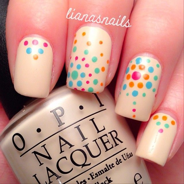 Beige, polka dots. OPI.  Nail Art. Nail Design. Polishes. Polish, Romantic. Instagram  by lianasnails