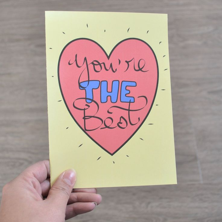You're the Best, A card for any occasion, Mother's Day, Father's Day, Thinking of you, Thank you, Friendship card by AMTaylorArt on Etsy https://www.etsy.com/ca/listing/289474189/youre-the-best-a-card-for-any-occasion