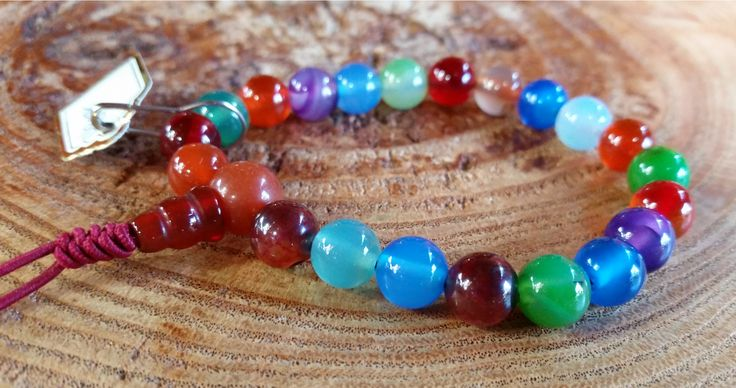 Ágata Colorida - Pedra Natural - Mala de Mão 27 Contas - Rosário Budista