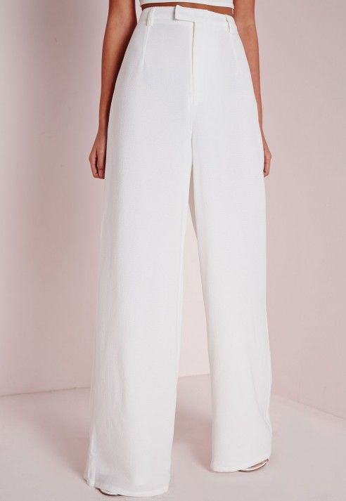 Tall Zip Front Crepe Wide Leg Trousers White - Tall - Trousers - Missguided