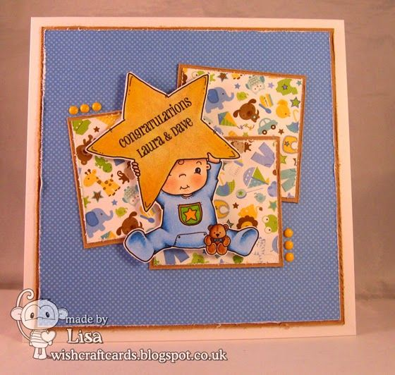 Baby card, Little Miss Muffet Stamps