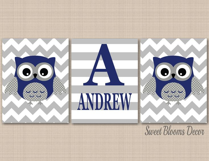 Owl Décor,Owl Nursery Wall Art,Navy Gray Owl Wall Art,Boy Owl Nursery Decor,Blue Gray Grey Owl Wall Art,Gray Navy Chevron Owl Nursery Decor-UNFRAMED Set of 3 PRINTS (NOT CANVAS)C215