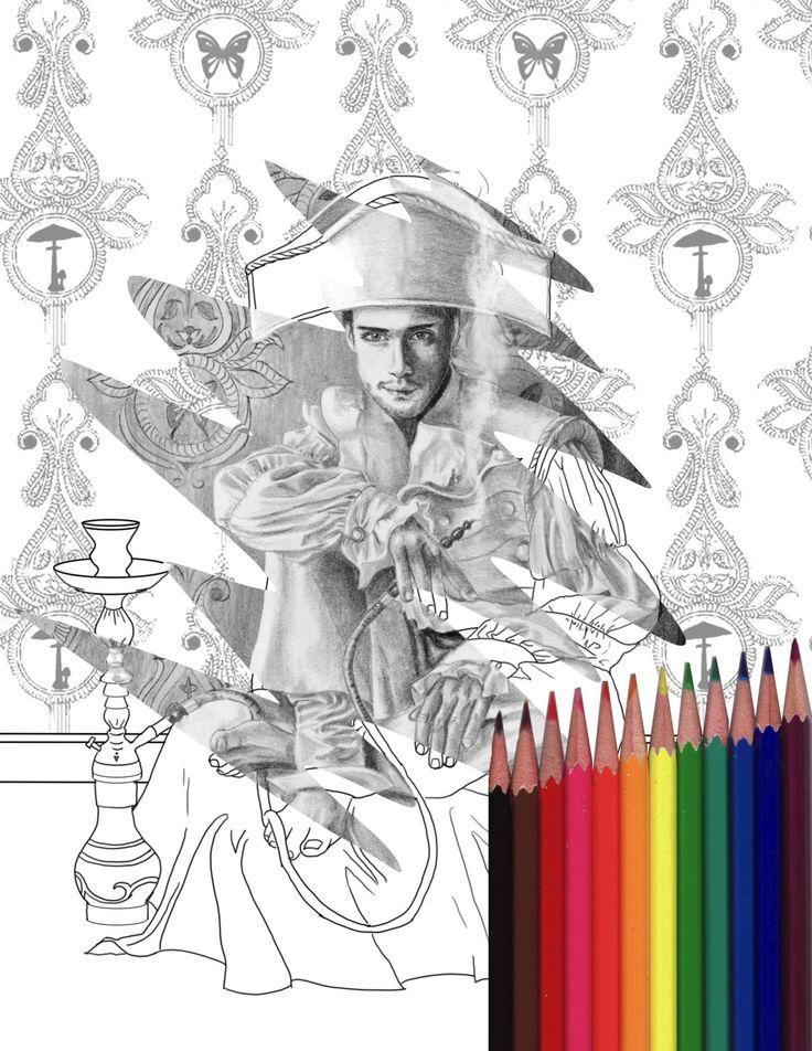 Caterpillar Coloring Page Alice In Wonderland Printable JPG Adult Hookah Digi Stamp Book