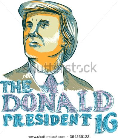 Jan. 19, 2016: Illustration showing American real estate magnate, television personality, politician and Republican 2016 presidential candidate Donald John Trump with words The Donald President 2016. - stock vector #Trump2016 #sketch #illustration